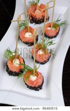 Appetizer Of Salmon With Mozzarella