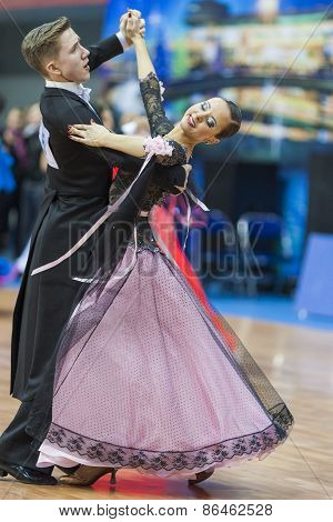 Minsk, Belarus-february 14, 2015: Unidentified Professional Dance Couple Performs Adult Standard Eur