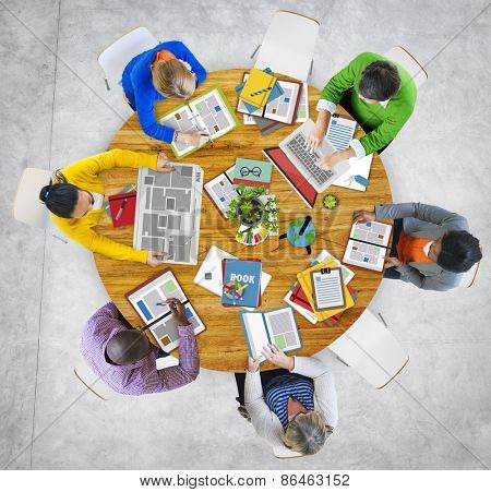 Aerial View of People with Digital Devices