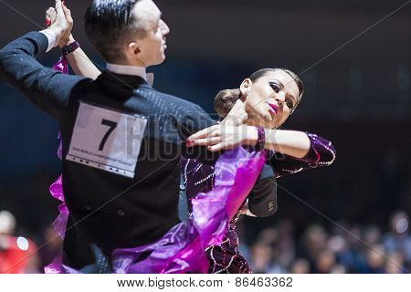 Minsk, Belarus-february 14, 2015: Professional Dance Couple Of Saraponovschi Cristian And Checshin T