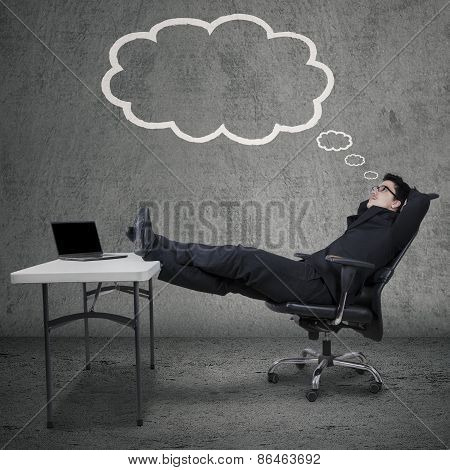 Entrepreneur With Cloud Tag And Dreaming