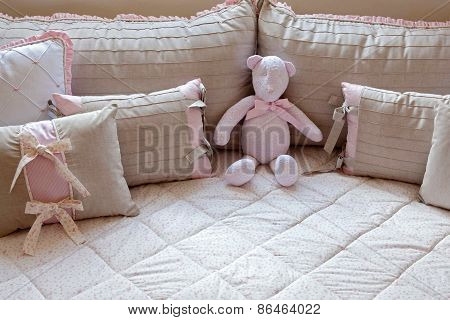 Pink Ted Bear In Girl Bed