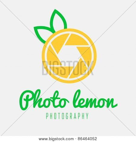 Creative logo, label, badge, emblem or logotype element with shutter and lemon for business, corpora