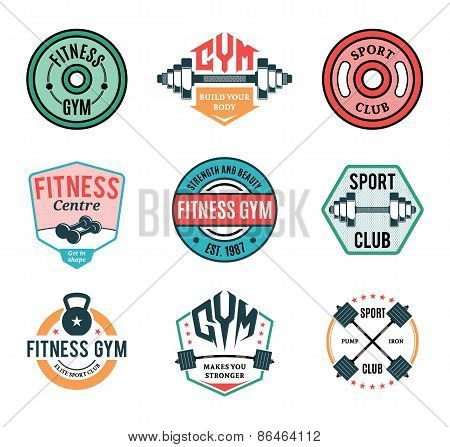 Gym and Fitness Label Templates and Athletic Badges