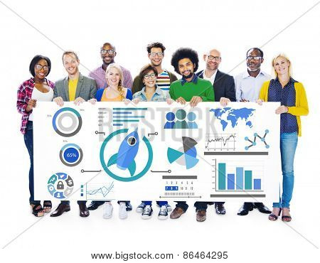 New Business Chart Innovation Teamwork Global Business Concept