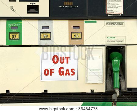 Out Of Gas Sign On Gas Pump