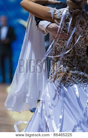 Minsk,Belarus-February 14, 2015: Closeup up of Back of the Professional Female Dancer