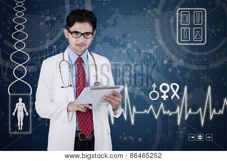 Male Doctor With Tablet And Virtual Screen