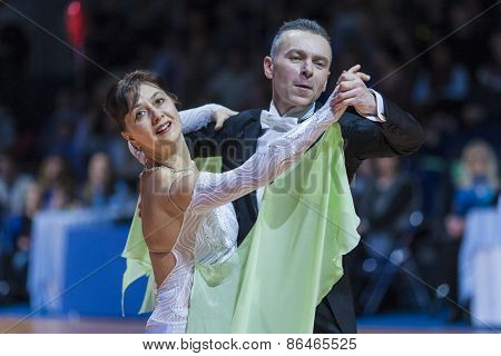 Minsk, Belarus-february 14, 2015: Unidentified Senior Dance Couple Performs Adult Standard Program P