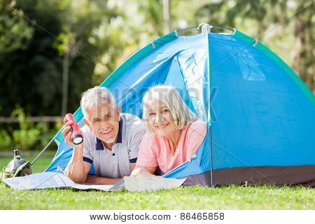 Portrait of senior couple with map and torch in tent at park