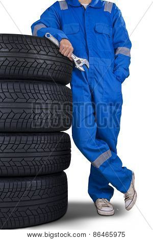 Mechanic Lean On Tires