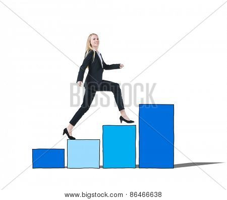 Businesswoman on a Bar Graph Moving Up