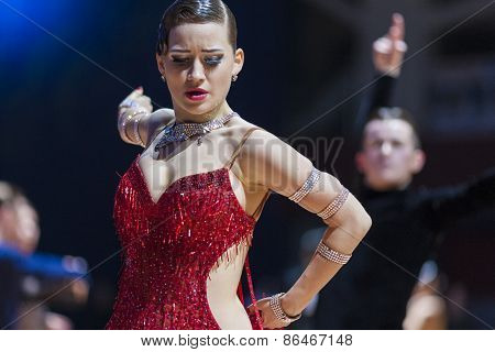 Minsk, Belarus-February 14,2015: Unidentified Professional Dance Couple Performs Latin Program