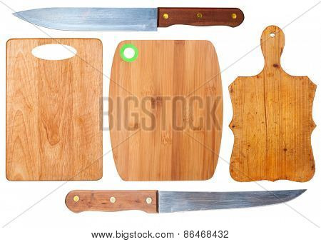 Kitchen cutting boards and knives