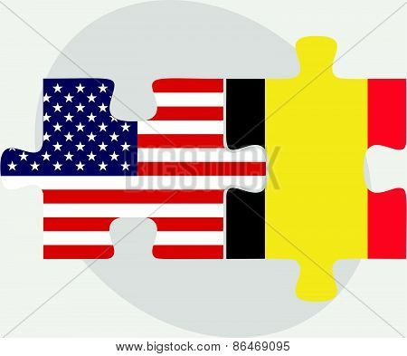Usa And Belgium Flags In Puzzle