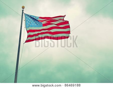 Us Flag In The Liberty Park 9/11 Memorial - Vintage
