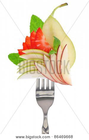 Fresh colorful fruits on fork, isolated on white