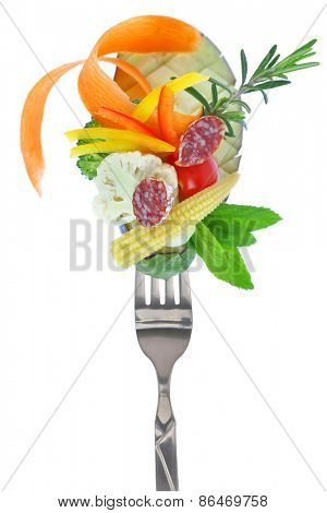 Fresh colorful vegetables and salami on fork, isolated on white