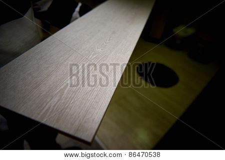 Background of the wooden panels in shop on floor