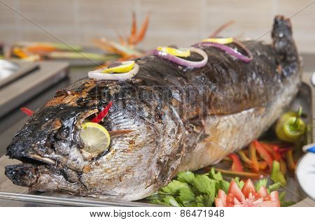 Whole Grilled Fish At A Buffet