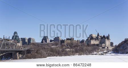 City buildings in winter