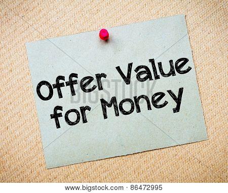 Offer Value For Money
