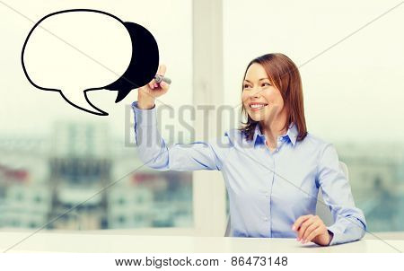 office, business, technology concept - businesswoman drawing blank text bubble