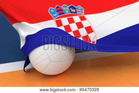 Flag Of Croatia With Championship Volleyball Ball