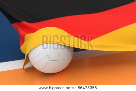 Flag Of Germany With Championship Volleyball Ball