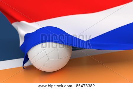 Flag Of Netherlands With Championship Volleyball Ball