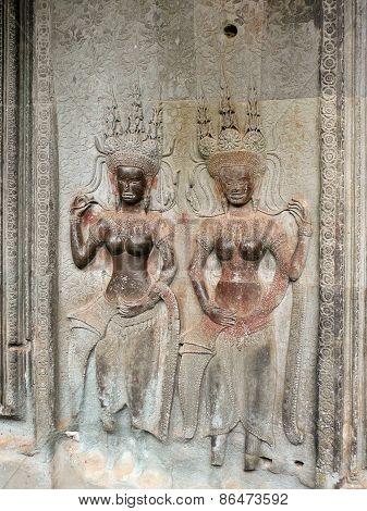 Goddess bas-relief, Angkor, Cambodia