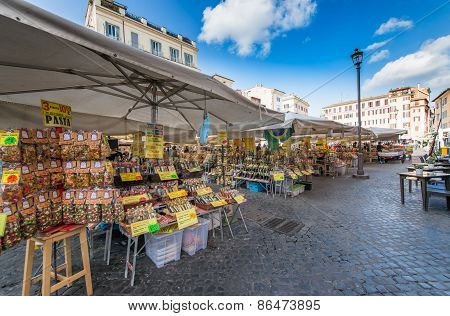 Rome,italy-march 24,2015: Campo De 'fiori In Rome - Italy. One Of The Main Squares Of Rome With The