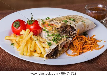 Eastern food. Arab food. Shawarma.