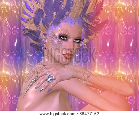 Modern digital art beauty and fashion fantasy scene.