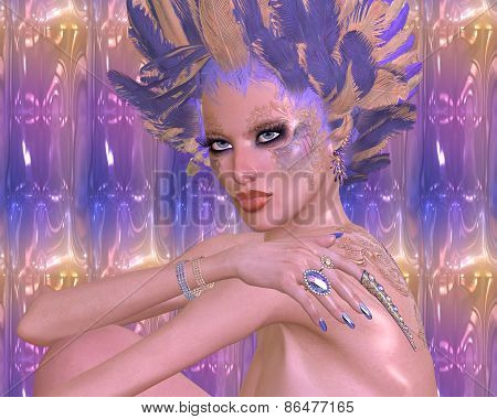 Modern digital art beauty and fashion, fantasy scene.