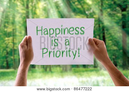 Happiness is a Priority card with nature background