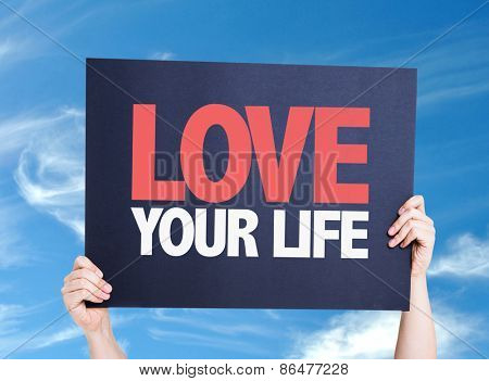 Love Your Life card with sky background