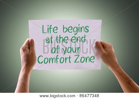 Life Begins at the End of your Comfort Zone card with green background