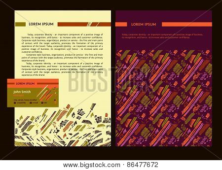 Set of templates for business documents of corporate identity.
