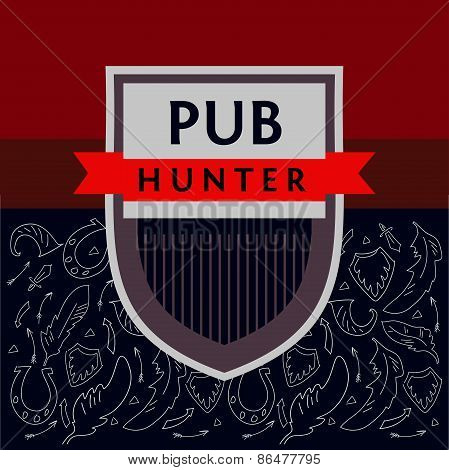 Pub Hunter. Logo and background with the image of the military