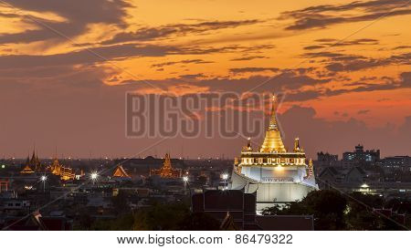 Golden Mount Temple Fair, Golden Mount Temple With Red Cloth In Bangkok At Dusk (wat Sraket, Thailan