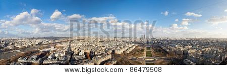 landscape of Paris. From the height of the Eiffel Tower