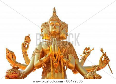 Golden Statue Of Brahma Isolated On White Background, Clipping Path.