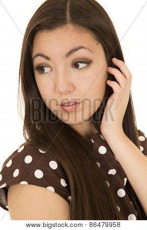 Attractive Asian American Woman Portrait Glancing Backwards Hand Up