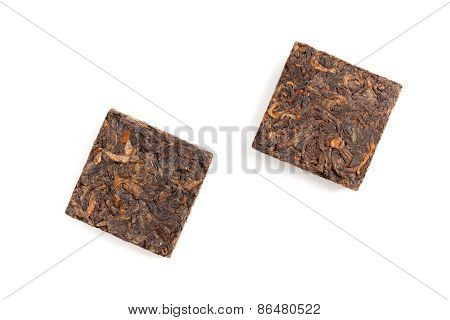 Two Pressing Briquette Of Black Chinese Pu Erh Tea