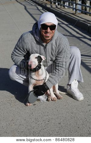 Unidentified man with Bull Terrier
