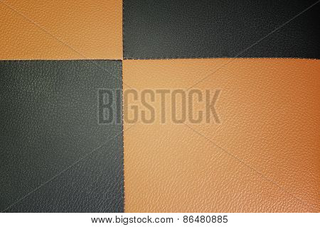 Closeup Texture Of Brown And Black Leather
