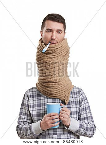 sad man in scarf have a flu. isolated on white background