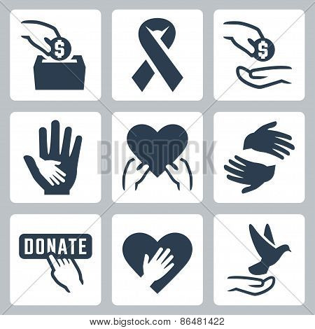 Charity Related Vector Icon Set