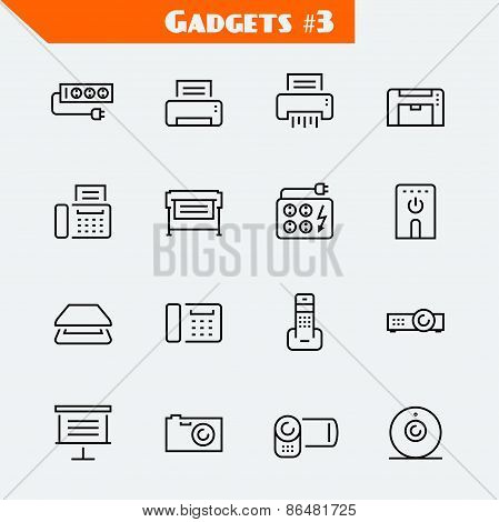 Peripheral Devices And Gadgets Icon Set